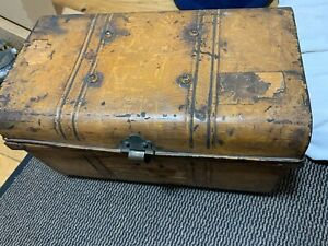 ANTIQUE RUSTIC TIN CHEST / TRUNK by F CHENEY , WIGMORE STREET LONDON