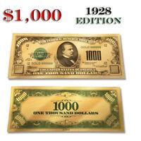 Pure $1000 Bank Note 24K Gold Foil Shiny Dollar Bill Durable Waterproof 1928 USA