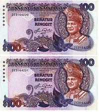 MALAYSIA RM100 5TH AZIZ TAHA LAST PREFIX ZC 2PCS RN AUNC