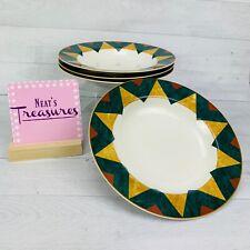 Sasaki TUSCANY Carson Pritchard Fine China Cream Tan Green Rim Soup Bowls Set 4