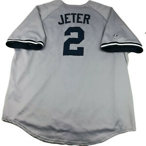 Vintage Majestic Mens 4XL New York Yankees Derek Jeter #2 Sewn Gray Jersey