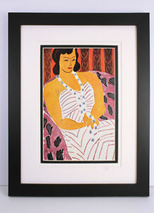 SIGNED Henri Matisse 1948 Antique Color Print Woman in a White Dress FRAMED COA