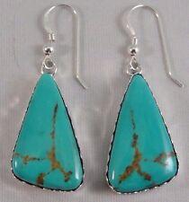 Navajo Sterling Silver Kingman Turquoise Handmade Hook Earrings - Elouise Kee