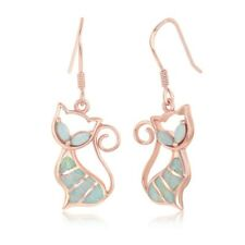 Sterling Silver Rose Gold Plated White Inlay Opal Cat Earrings