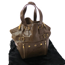 Auth Yves Saint Laurent Downtown Shoulder Tote Bag Brown Patent Leather V08718