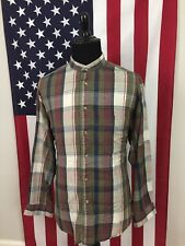 vtg Light Flannel Collarless Banded Shirt men's XL Plaid Boston Trader l/s 7319