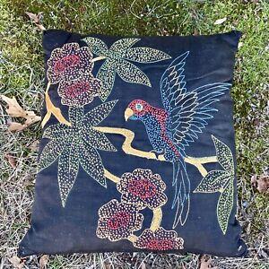Antique Hand Embroidered Pillow Throw Pillow Parrot Bird Black Silk Needlepoint