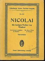 Nicolai : Die lustigen Weiber von Windsor - Ouverture ~ Studienpartitur