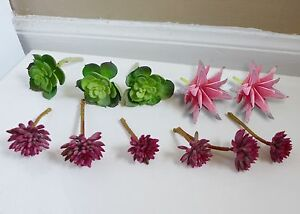 11 Artificial Mini Plants Green Lotus And Red Succulents Grasses