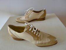 Sioux retro vintage 90s 4.5 7 beige brogues flat shoes leather germany Exc