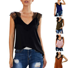 Women Sleeveless V Neck Solid Color Vest Lace Plus Size Loose Tank Top