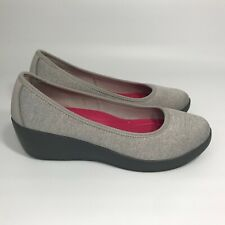 Crocs Dual Comfort Grey Fabric Wedge Slip On Women's 8