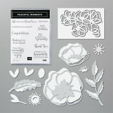 NEW Stampin Up PEACEFUL MOMENTS cling rubber STAMPS & POPPY MOMENTS DIES Bundle