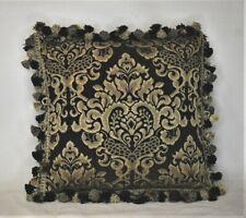 black and gold tassel fringed Mediterranean decorative throw pillow handmade in