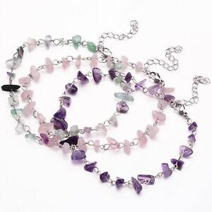 Crystal Gemstone Bracelet Anklet Chakra Chip Silver Natural Stone Ankle Chain
