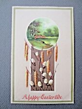 ANTIQUE Postcard S Hildesheimer 374 Embossed EASTER Catkins Pussy Willow River