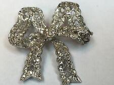 DIAMOND PAVE BOW PIN - 14K WHITE GOLD MODERN - FANCY (J1078)