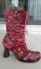 Vero Cuoio vintage boots Unique Embroidered Multi-color Boho High Heels Size 9