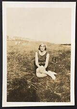 PHOTOGRAPH Young Woman on Lawn 6cm x 8.5cm Southbourne 1931 DORSET 30s Girl 1122