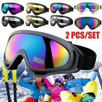 2Pairs Snow Sports Goggles Men Womens Ski Snowboard Snowmobile Skate Sun Glasses