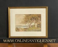 Lovely Early 1900's Watercolour By Arthur Mills Depicting A Shepherd With Flock