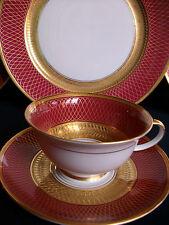 ROSENTHAL PRINCIPESSA MAROON  (c.1950's)  CUP & SAUCER(s)- RARE!! MINT!! GILT!!
