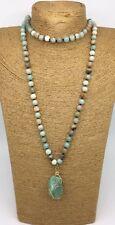 Fashion semi precious stone long knot Amazonite Stones Natural Pendant Necklace
