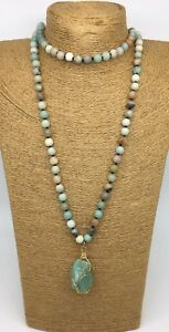 8mm handmade stone long knot Amazonite Stones Natural green Pendant Necklace