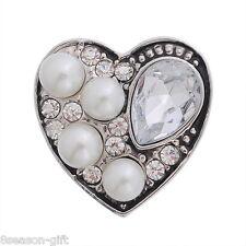1pc Snap Button Fit Snap Bracelet Rhinestone Pearl Peach Heart 20x20mm