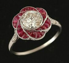Art Deco 2 Ct Off White Moissanite & Ruby Engagement Ring In 925 Sterling Silver