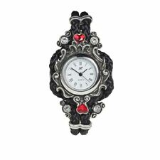 Women's Affiance Watch Black Braided Strap Hearts Wristwatch AW29 Alchemy Gothic