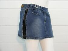 "FUNHOUSE Blue Denim STRETCH w/Black Lace Sides Jean Mini Skirt Sz 3 - W27"" x L12"