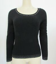 MAGASCHONI BLACK CASHMERE SWEATER WITH RHINESTONES sz M