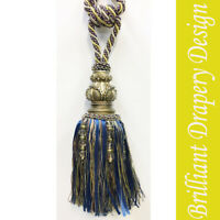 A Pair of Large wooden carve Tie Back Tassel with Crystals Cream color
