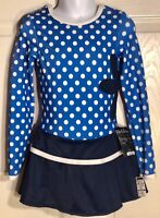 GK BLUE MATTE TRICOT ICE FIGURE SKATE CHILD SMALL LgS DOT PRINT DRESS Sz CS NWT!