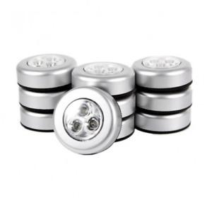 3 LED Wardrobe Light Touch Push Tap Stick On Cabinet Closet Night Wall Lamp Car
