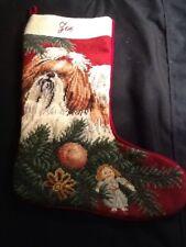 Vintage Needlepoint Dog Christmas Stocking On Red Velvet Cavalier Spaniel Or Oth