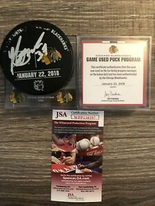 Yanni Gourde Signed Lightning Vs. Blackhawks Warm Up Puck Game used JSA COA