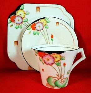 ROYAL VALE Trio ART DECO Rare ANTIQUE China HAND PAINTED Vintage STUNNING