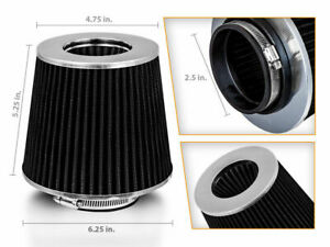 """2.5"""" Inlet Short Ram Cold Air Intake Filter Round/Cone Universal BLACK For Eagle"""
