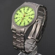 Luminous Face Glow Dial SOKI Mens Analog Date Quartz Stainless Steel Band Watch