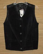 "Black Suede Leather Size Medium Vest by Savannah (Bust 36"") Biker Westernwear"