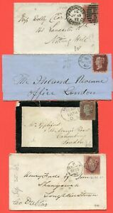 Victoria 1d Red Selection On Covers/Fronts. Includes Mourning Envelope.