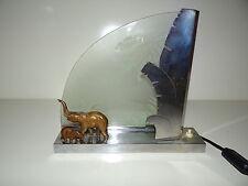 Magnifique Lampe ART DECO Elephants Bronze, Chrome et verre dépoli avec Palmier
