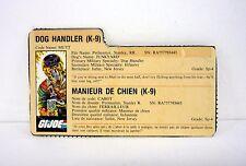VINTAGE MUTT FILE CARD G.I. Joe Action Figure FRENCH / GOOD SHAPE 1984