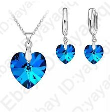 BLUE TOPAZ DECEMBER BIRTHSTONE CRYSTAL Rhinestone HEART Necklace Earrings Set