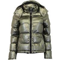Ladies Jacket Brave Soul Womens Coat Padded Quilted Hoodie Metallic Satin Bomber