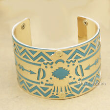 Gold Navajo Indian Eagle Turquoise Leather Arrow Aztec Zuni Bracelet Bangle Cuff