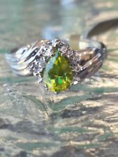 Peridot Pear Cut And Diamond Ring 10kt Solid White Gold