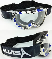 Alias Riot Motocross Mx Occhiali Blu con Trasparente Colore Lente Spy Moto